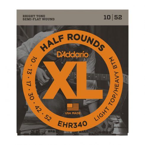 D'Addario EHR340 Half Rounds Stainless Steel Electric Guitar Strings 10-52 Light Top Heavy Bottom