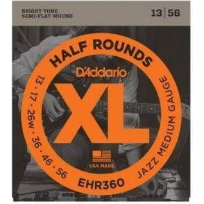 D'Addario EHR360 Half Rounds Stainless Steel Electric Guitar Strings 13-56 Jazz Medium