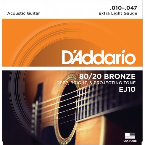 D'Addario EJ10 80/20 Bronze Acoustic Guitar Strings 10-47 Extra Light