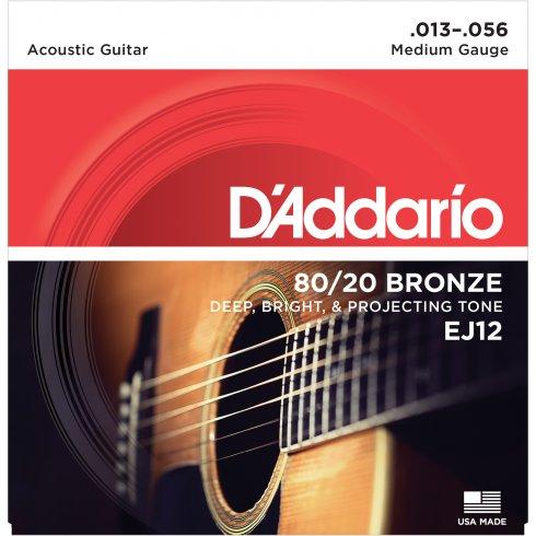 D'Addario EJ12 80/20 Bronze Acoustic Guitar Strings 13-56 Medium