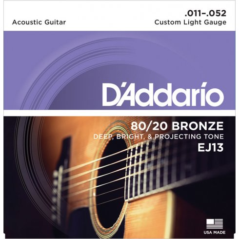 D'Addario EJ13 80/20 Bronze Acoustic Guitar Strings 11-52 Custom Light