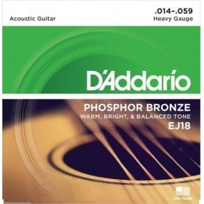 D'Addario EJ18 Phosphor Bronze Acoustic Guitar Strings 14-59 Heavy Gauge