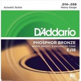 D'Addario EJ18 Phosphor Bronze Acoustic Guitar Strings 14-59 Heavy Gauge