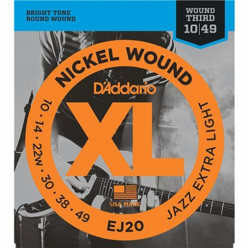 D'Addario EJ20 Nickel Wound Jazz with Wound 3rd 10-49 Extra Light Guitar Strings