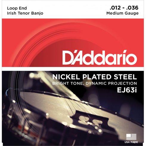 D'Addario EJ63i Irish Tenor Banjo Strings, Nickel Wound, Loop End 12-36, 2-Pack