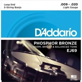 D'Addario EJ69 5-String Banjo Strings, Phosphor Bronze Wound, Loop End, 09-20 Light