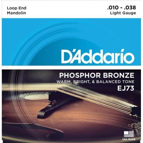 D'Addario EJ73 Mandolin Strings, Phosphor Bronze Wound Loop End 10-38 Light Gauge