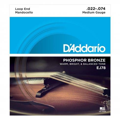 D'Addario EJ78 Mandocello Phosphor Bronze Wound Strings 22-74 Gauge