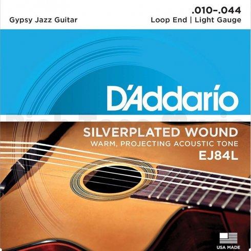 D'Addario EJ84L Gypsy Jazz Acoustic Guitar Strings 10-44 Loop End Light Gauge