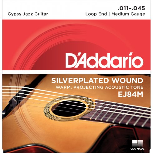 D'Addario EJ84M Gypsy Jazz Acoustic Guitar Strings 11-45 Loop End Medium