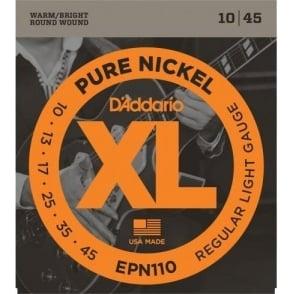 D'Addario EPN110 XL Pure Nickel Electric Guitar Strings 10-45 Gauge
