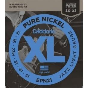 D'Addario EPN21 XL Pure Nickel Jazz Light 12-51 Electric Guitar Strings