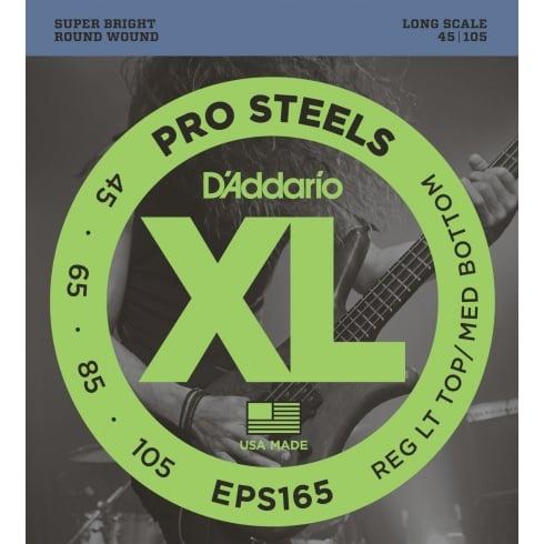 D'Addario EPS165 4-String ProSteel Bass Strings 45-105 Reg Lt Top / Med Bottom