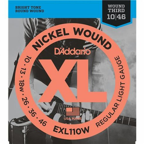 D'Addario EXL110w Nickel Wound Electric 10-46 Regular Light w/ Wound 3rd