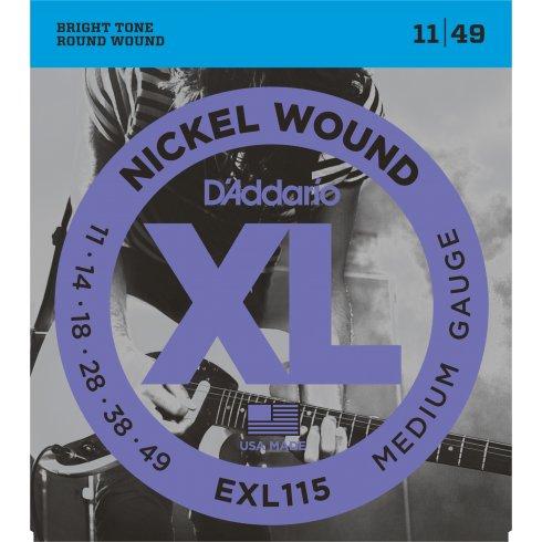D'Addario EXL115 Nickel Wound Electric Guitar Strings 11-49 Jazz Rock