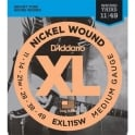 D'Addario EXL115w Nickel Wound Electric 11-49 Jazz Rock with Wound 3rd