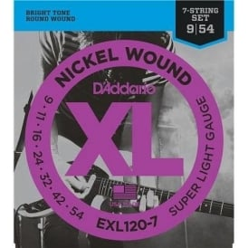 D'Addario EXL120-7 Nickel Wound 09-54 7-String Electric Guitar Strings