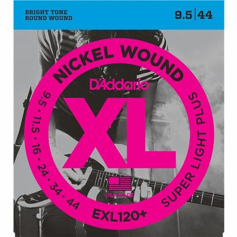 D'Addario EXL120+ Nickel Wound Electric 09.5-44 Super Light Plus Guitar Strings