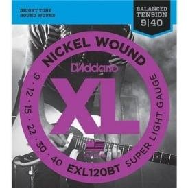 D'Addario EXL120BT Nickel Wound Balanced Tension Electric Guitar Strings 09-40 Super Light