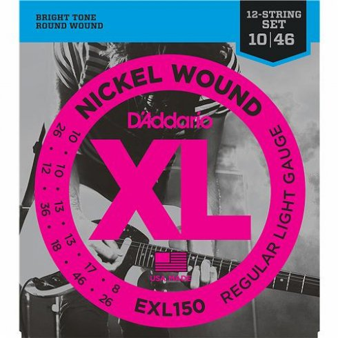 D'Addario EXL150 Nickel Wound Electric 10-46 12-String Guitar Strings Set