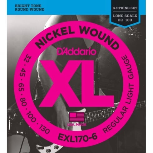 D'Addario EXL170-6 Nickel Wound 32-130 6-String Long Scale Bass Strings