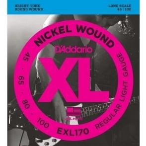 D'Addario EXL170 Nickel Wound 4-String 45-100 Bass Guitar Strings Regular Light
