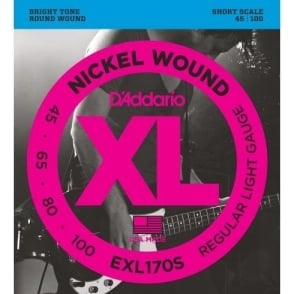 D'Addario EXL170S 4-String Nickel Wound 45-100 Short Scale Bass Strings
