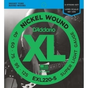 D'Addario EXL220-5 5-String Nickel Wound 40-125 Long Scale Bass Guitar Strings