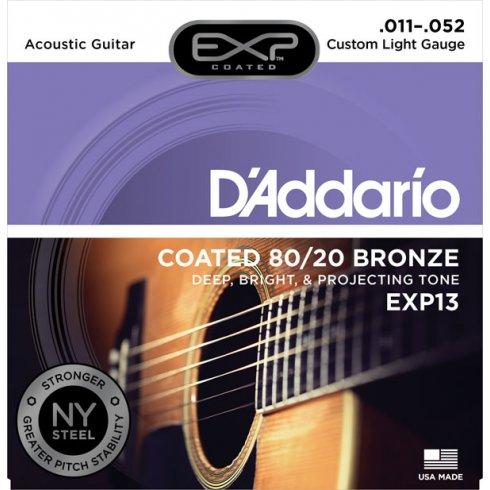 D'Addario Extended Play EXP13 80/20 Bronze Acoustic Guitar Strings 11-52 Custom Light