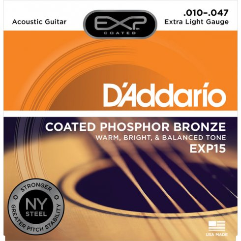 D'Addario Extended Play EXP15 Phosphor Bronze Acoustic Guitar Strings 10-47 Extra Light