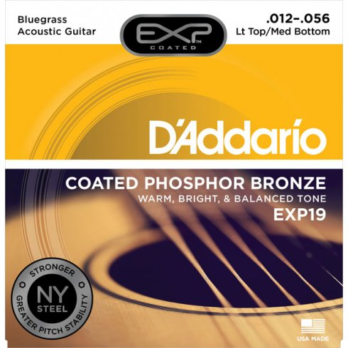 D'Addario Extended Play EXP19 Phosphor Bronze Acoustic Guitar Strings 12-56 Bluegrass