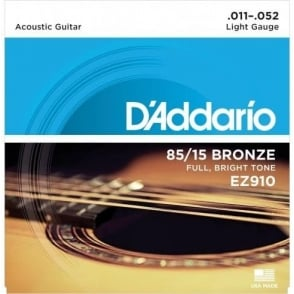D'Addario EZ910 85/15 Bronze 11-52 Light Acoustic Guitar Strings