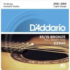 D'Addario EZ940 85/15 12-string Bronze Acoustic Guitar Strings 10-50 Gauge