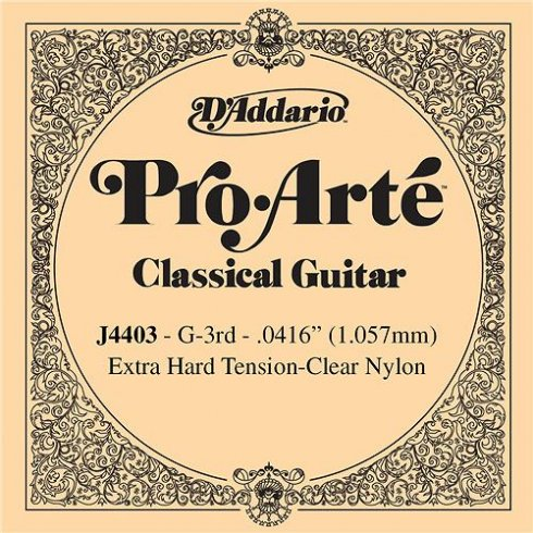 D'Addario J4403 Pro Arte Clear Nylon Extra Hard Tension Single String 3rd G-String