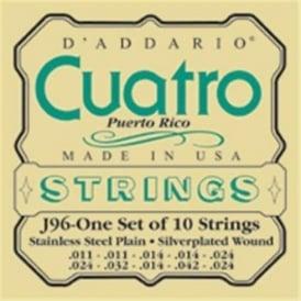 D'Addario J96 Cuatro Puerto Rico Silver Wound on Silk Medium Ball End Strings