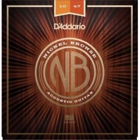D'Addario NB1047 Nickel Bronze Acoustic Guitar Strings, Extra Light, 10-47 Gauge
