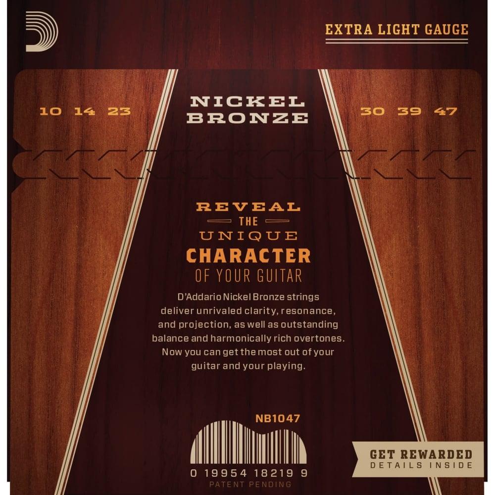 d 39 addario nickel bronze acoustic guitar strings custom ex light 10 47. Black Bedroom Furniture Sets. Home Design Ideas
