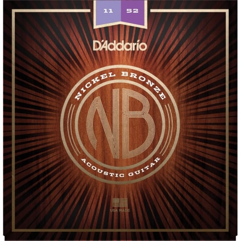 D'Addario NB1152 Nickel Bronze Acoustic Guitar Strings, Custom Light, 11-52 Gauge