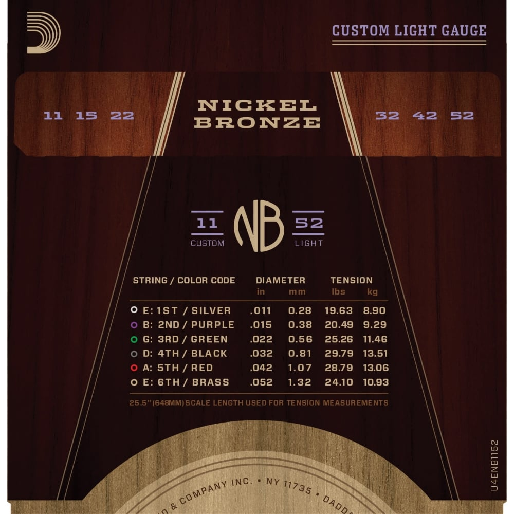 d 39 addario nickel bronze acoustic guitar strings custom light 11 52. Black Bedroom Furniture Sets. Home Design Ideas