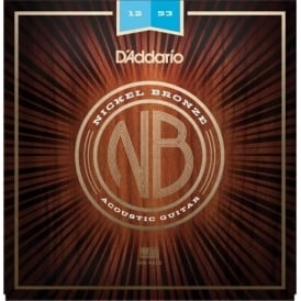 D'Addario NB1253 Nickel Bronze Acoustic Guitar Strings, Light, 12-53 Gauge