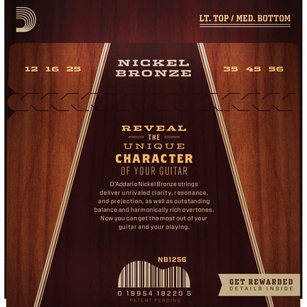 d 39 addario nickel bronze acoustic guitar strings light 12 56 gauge. Black Bedroom Furniture Sets. Home Design Ideas