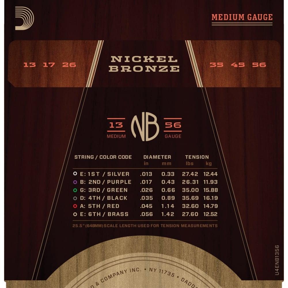 d 39 addario nickel bronze acoustic guitar strings medium 13 56 gauge. Black Bedroom Furniture Sets. Home Design Ideas