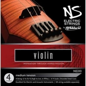 D'Addario NS Electric Violin Strings 4/4 Size Medium Tension Set