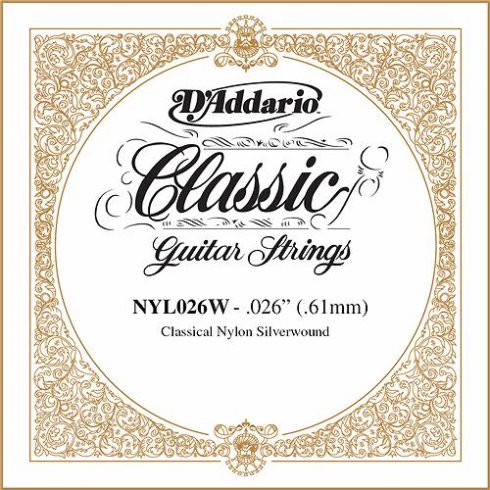 D'Addario NYL026W Silverplated Wound on Nylon Single String .026