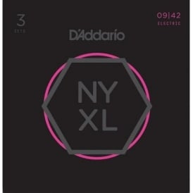 D'Addario NYXL0942-3p Nickel Wound Electric Guitar Strings 09-42 Super Light, 3-Pack
