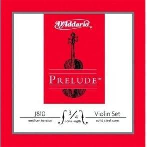 D'Addario Prelude Medium Tension 3/4 Size Violin Strings J810-3/4M Full Set