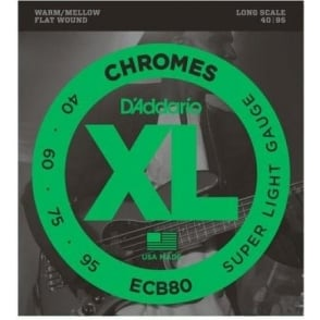 D'Addario ECB80 4-String Flatwound Chromes 40-95 Long Scale Bass Strings