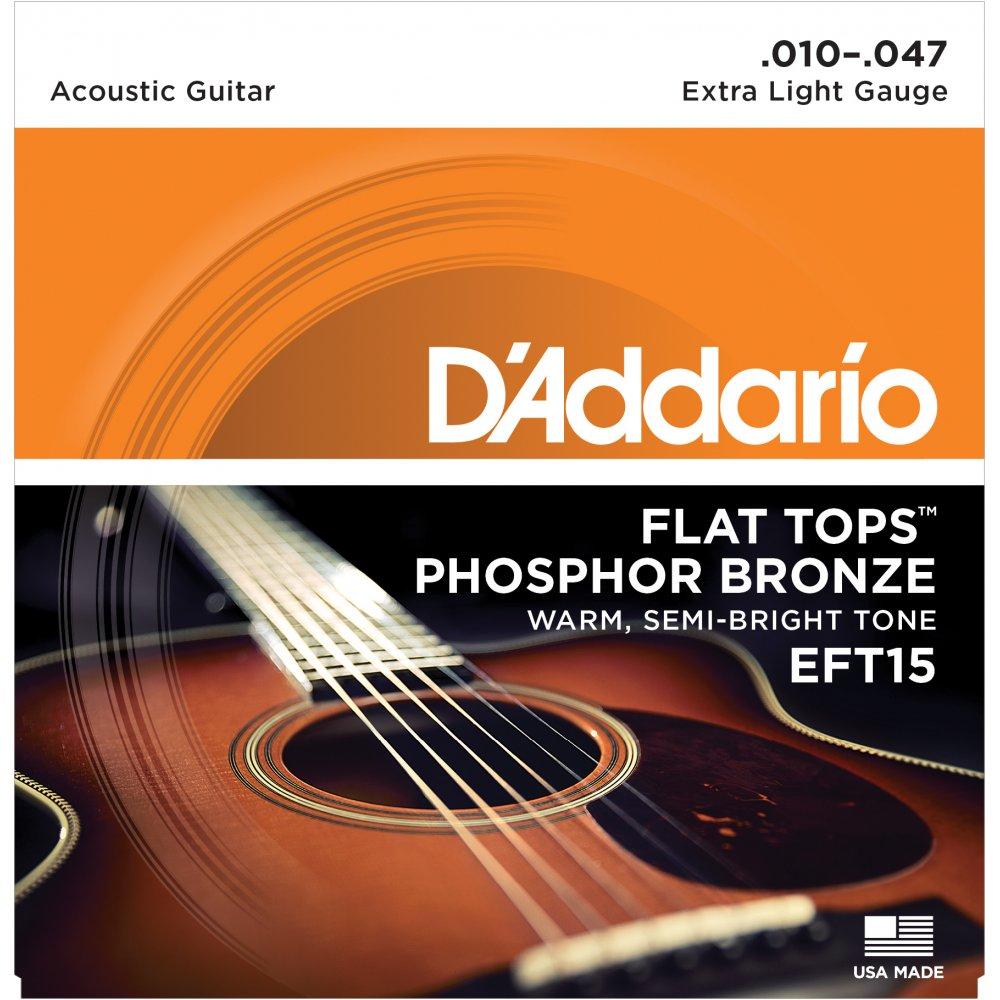 D'Addario EFT15 Flat Tops 10-47 Extra Light Acoustic ...
