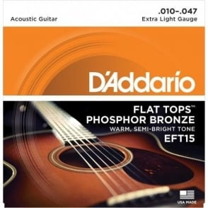 D'Addario EFT15 Flat Tops 10-47 Extra Light Acoustic Guitar Strings