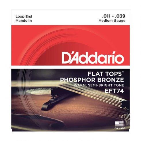 D'Addario EFT74 Flat Top Mandolin 11-39 8-String Medium Strings
